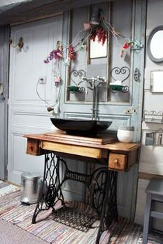 """Don't """"sink"""" lots of money into new bathroom furniture… your own! Don't """"sink"""" lots of money into new bathroom furniture… your own! Sewing Machine Tables, Antique Sewing Machines, Sewing Table, Repurposed Furniture, Vintage Furniture, Furniture Makeover, Diy Furniture, Bathroom Furniture, Bathroom Sinks"""