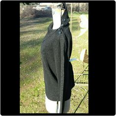 NWOT Black Sweater w/Buttons New without tags. This sweater is black with 4 buttons at top of shoulder going up the left side of the neck. Can wear as a turtle neck or as shown. Very soft material. Jones Wear  Sweaters Cowl & Turtlenecks