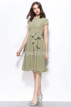 f5ff68c2dce Vintage inspired sage chiffon short bridesmaid dress. Bateau neckline with  short sleeves. Olive Bridesmaid