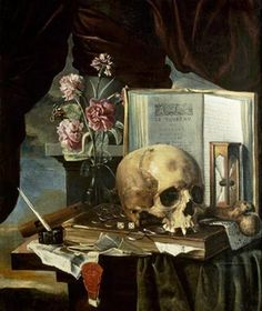 Vanitas Still Life by Simon Renard de Saint-André, middle of the 17th century. Notice the hourglass, pair of dice, and sheet of music.