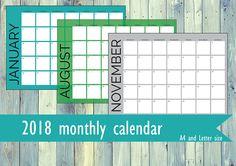 Printable monthly calendar for 2018. Colorful calendar. Black