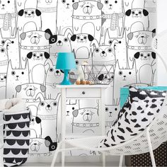 Baez Removable Nursery Dogs 10 L x 25 W Peel and Stick Wallpaper Roll Nursery Wallpaper, Dog Wallpaper, Peel And Stick Wallpaper, Wallpaper Murals, Urban Design Concept, Urban Design Diagram, Cheap Sheets, Design Repeats, Arquitetura