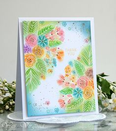 Floral Bliss: SSS, emboss, sponge with distress oxide inks, flower sketch, Yes, Virginia,