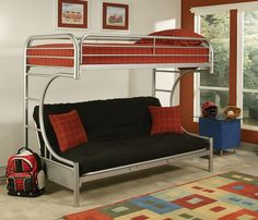 """Eclipse Silver Metal Youth T/F Futon Bunk Bed 02091W-SI Features : - Silver color - Metal """"C"""" shape sturdy construction - It consists of two panel beds - Arched crown of headboard and foot board - Mat"""