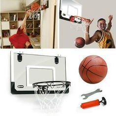 Mini Basketball Hoop Board Indoor Outdoor Home Office Wall Basketball Net Goal Indoor Basketball Hoop, Basketball Room, Basketball Backboard, Hoop Net, Indoor Bike Trainer, Dumbbell Rack, Bicycle Workout, Office Walls, Home Office