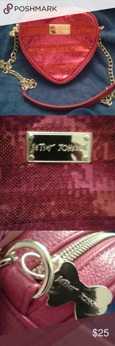 Nwot Betsey Johnson crossbody New never used B. Johnson PVC leather crossbody. One inside pocket of jewel themed inside. Plain pink leather in back and red and pink striped sequins in front. Cute golden bow zipper. Really cute for summer! Offers welcome Betsey Johnson Bags Crossbody Bags