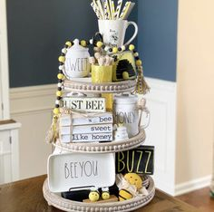 These Inspirational Farmhouse Rae Dunn Tiered Trays will totally motivate you to create for sure! Come and get some fun ideas and tons of inspiration! Tray Styling, Homemade Laundry Detergent, Tiered Stand, Beaded Garland, Tray Decor, Farmhouse Decor, French Farmhouse, Farmhouse Ideas, Country Farmhouse