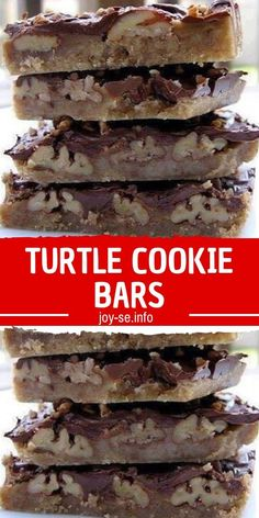 Turtle Cookie Bars Ingredients: Crust: 2 cups all-purpose flour 1 cup firmly packed brown sugar cup butter, softened Layer 1 cup pecan halves or chopped pecans cup butter cup firmly packed brown sugar 1 cup milk chocolate morsels Directions Turtle Cookies, Turtle Cookie Bars, Cookie Brownie Bars, Cookie Crust, Bar Cookies, Turtle Bars, Chocolate Chip Cookies, Chocolate Morsels, Candy Recipes
