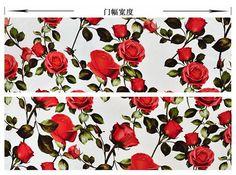 Fleur rouge tissu organza de soie 100 % mulberry par HQFabricFamily