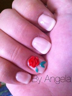 #french #3d #rose #red #white #simple #elegant #green #leaf