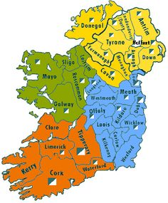 Map of Ireland with county info