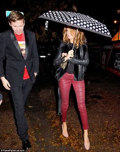 Red leather pants and Sandro jacket