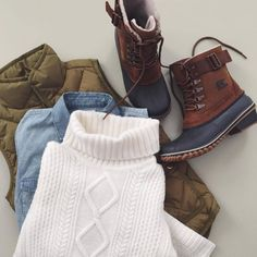 Nice fall outfit to wear blue and brown  stylish boots and a green  vest can wear a sweater and shirt.[]