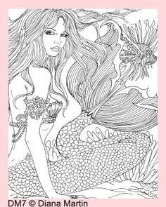 ADULT COLORING FABRIC BLOCK MERMAID RESTING QUILTS CRAFTS DM7