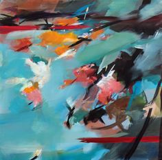 "Saatchi Art Artist Ute Laum; Painting, ""Abstract painting Hanami (cherry blossom)"" #art"