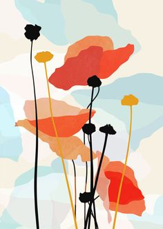 Poppy Mini Art Print by ThingDesign - Without Stand - x Art And Illustration, Easy Canvas Art, Pastel Art, Minimalist Art, Flower Art, Painting & Drawing, Watercolor Art, Poppies, Modern Art