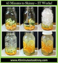 Body Flush and Detox Water  1 cucumber 1 lemon 1 or 2 oranges 2 limes 1 bunch of mint  Slice them all and divide the ingredients between FOUR (4) 24 oz. water bottles and fill them up with filtered water. Drink daily!!! Not only does this taste delicious and help flush fat, but it also counts toward your daily water intake!