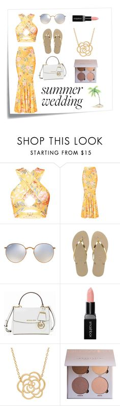 """""""summer vibes"""" by aussievinyls ❤ liked on Polyvore featuring Post-It, Ray-Ban, Havaianas, Michael Kors, Smashbox and Lord & Taylor"""