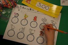 Telling time - from Mrs. Lee's Kindergarten: Farm-The Latter Half Math Classroom, Kindergarten Math, Classroom Activities, Classroom Ideas, Maths Resources, Teaching Time, Teaching Math, Teaching Ideas, Teaching Activities