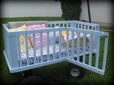 Ways to reuse an old/broken crib. I really like the idea of the wagon. It's cute!