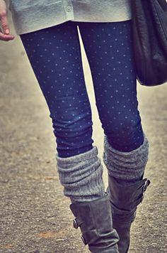 White polka dot skinnies, leg warmer and tan long boots!