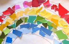Scrap paper rainbow craft by @Allison McDonald -- perfect for St. Patrick's Day!