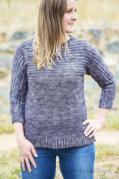 The simplicity of your basic boxy sweater with a hint of sophistication. Featuring bold lines, three-quarter sleeves, a split high-low hem and clever construction, Adelong will be your new winter favourite. Shrug Pattern, Dk Weight Yarn, Knit Patterns, Crochet Clothes, Wool Blend, Knitwear, Pullover, Sweaters, Cardigans