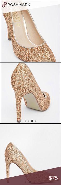Glitter Court Heels Gently worn// champagne heavy glitter// shipped with original box (U.K. Size 8) ASOS Shoes Heels
