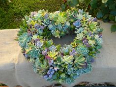 Succulent Heart Wreath - by tobieanne Etsy