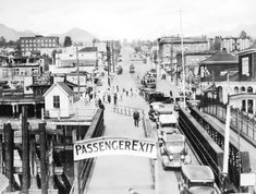 Today Vancouverites take the SeaBus ferry across Burrard Inlet to the North Shore – just as they did in the This view is of Lonsdale Avenue looking north from the ferry dock in North Vancouver. North Vancouver, Old Pictures, Old Photos, Vintage Photos, Fraser Valley, Iconic Photos, Historical Images, History Facts, Historia