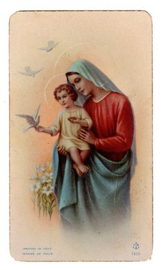 Jesus and Mary Vintage Holy Card.  Could have papered a wall with all the Holy Cards collected during my school days