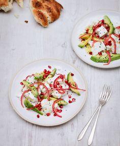 Nigella Lawson's Feta and Avocado Salad. A refreshing and colorful holiday salad.