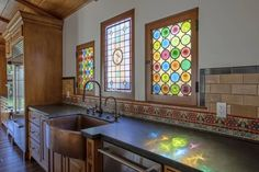Vintage stain glass and tile in Toluca Lake, CA - Home Design and Decoration Home Interior Design, Interior Decorating, Harewood House, Swedish Kitchen, Interior Window Shutters, Toluca Lake, Old Room, Modern Master Bedroom, Earthship