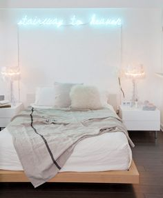 my scandinavian home: A white, wood and neon loft space Dream Bedroom, Home Bedroom, Bedroom Decor, Bedrooms, Neon Sign Bedroom, Bedroom Lighting, Neon Lights For Bedroom, Bedroom Colors, Light Bedroom