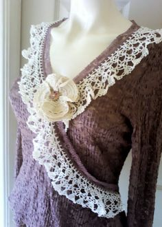 Up Cycled Mauve Lace Bohemian top by PinkPicot on Etsy, £20.00