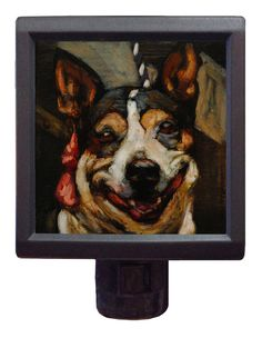 """Happy """"Gretta"""" is one of 16 portraits of shelter dogs by Mark Barone, transformed into stunning #nightlights for the museum of compassion. Buy yours today and help them save lives! #dogs #savedogs #animalwelfare #adoptadog #adoptacat #anactofdog #banbsl #pitbull"""