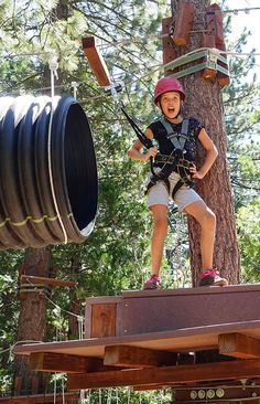 Granlibakken Treetop Adventure Park at Lake Tahoe offers a great kids ropes course with zip lines and climbing challenges that keep your kids busy. This is an excellent Lake Tahoe vacation destination for the whole family. #FamilyDestination