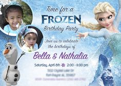 Siblings Frozen Invitation with their photos as the stars of their Birthday Invitation. Elsa and Olaf celebrating with your children.