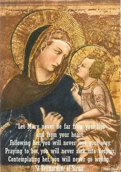 """St. Bernardine of Siena - """"Let Mary never be far from your lips and your heart...."""" Quote of the Day - 26 August ~ AnaStpaul"""