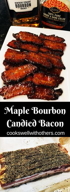 Maple Bourbon Candied Bacon The BEST way to cook bacon is in the oven. This Oven Baked Bacon recipe is fantastic for breakfast, brunch and holidays! Brown Sugar Bacon, Maple Bacon, Candied Bacon Recipe, Pork Recipes, Cooking Recipes, Recipies, Healthy Recipes, Bacon Appetizers, Quick Appetizers