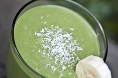 Recipe for Coconut Banana Green Smoothie.
