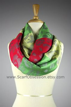 Farb-und Stilberatung mit www.farben-reich.com - Color block Infinity Scarf , striped , multicolored , floral scarf , Green