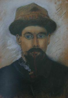 Gustave Loiseau (1865-1935) ~ Autoportrait à la Pipe - 1915 - Pastel sur Crayon