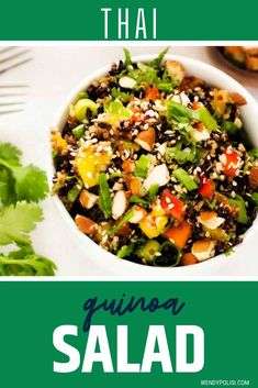 Of all the quinoa recipes I've made, this Thai Quinoa Salad is one of my all-time favorites. What I love most about this healthy recipe is the way the flavors and textures play together. The bright dressing features lime juice, sesame oil, and garlic and just the right blend of sweet heat. It plays perfectly with ridiculously aromatic mint and cilantro! You are going to love this vegan quinoa salad. Healthy Gluten Free Recipes, Healthy Diet Plans, Vegan Recipes, Best Quinoa Salad Recipes, Healthy Salads, Make Ahead Lunches, Lunches And Dinners, Sesame Oil, Lime Juice