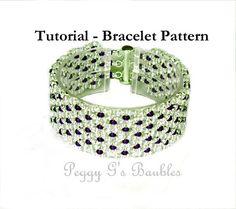 Beading Tutorial Ruffles Bracelet, Beading pattern with Twin Beads 8/0's and 15/0's - Beaded Bracelet Pattern, PDF