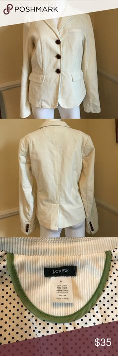 Women's J.Crew cream corduroy blazer Women's J.Crew size small cream corduroy blazer with leather buttons. Excellent condition J. Crew Jackets & Coats Blazers