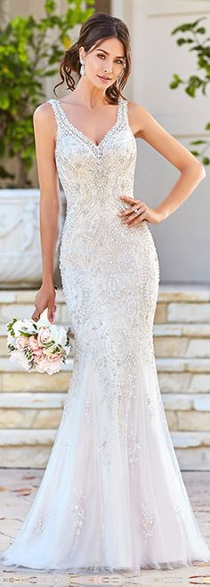 Brilliant Tulle V-neck Neckline Mermaid Wedding Dresses http://www.dressilyme.com/p-brilliant-tulle-v-neck-neckline-mermaid-wedding-dresses-with-embroidered-beadings-rhinestones-66028.html