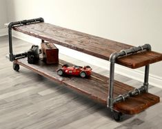 Make your own Vintage Industrial Cast Iron Pipe Table TV Stand with plumbing parts and old wood