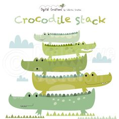Crocodile Stack Digital Clip Art Clipart Set - Personal and Commercial Use
