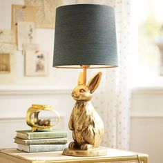 PB Teen The Emily and Meritt Brass Bunny Table Lamp & Shade at Pottery Barn Teen - Teen Lamps - Desk Lamps - Bunny Lamp, Animal Lamp, Emily And Meritt, Table Lamp Shades, Table Lamps, Sofa Tables, Table Desk, Rustic Lamps, Bedroom Lamps